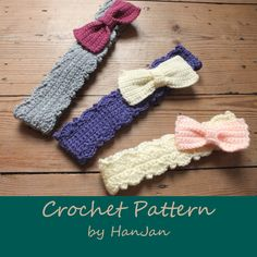 Instant Download PDF Crochet Pattern:  Little 'Bow' Peep Chunky Headbands in 6 sizes - baby to adult, US instructions