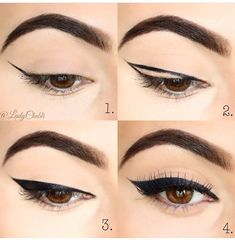 Have you always wanted to achieve that beautiful cat eye look with your eyeliner? If you're having a hard time, there are some easy cat eyes makeup tips you can try out. These tips will help you achieve the look every time in a matter of minutes. Eye Makeup Steps, Makeup Eye Looks, Eyebrow Makeup, Skin Makeup, Eyeshadow Makeup, Makeup Cosmetics, Eyeshadow Palette, Navy Eyeshadow, Eyeliner Make-up