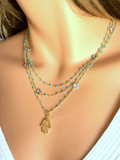 Multi Layer Hamsa Necklace Layered Aqua by divinitycollection