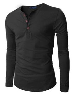 Doublju Mens Henley T-shirts with Long Sleeve