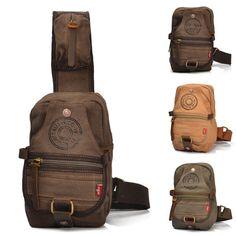 Canvas Vintage Handbag Messenger Shoulder Sling CrossBody Chest Bag #Unbranded #MessengerShoulderBag