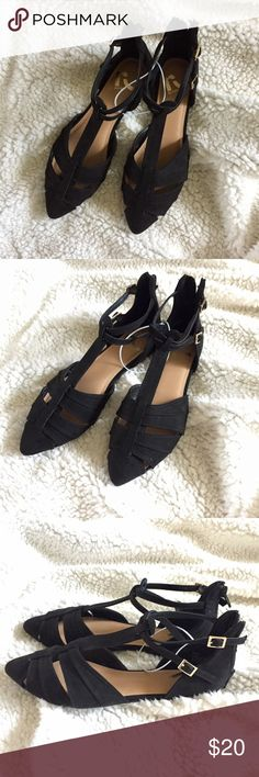 Black Pointed Toe Flats NWOT absolutely adorable black flats with a pointy toe, t-strap design. Zipper in the back for easy slip on and off. Never worn, brand new condition! Size 6, true to size. Bundle up and save! Report Shoes Flats & Loafers