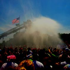 How many times in life can you be cooled off by a fire hose? Just jump in and enjoy!
