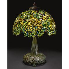 "** Tiffany Studios, New York, Favrile Leaded Glass and Patinated Bronze ""Laburnum"" Lamp."
