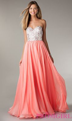 Jeweled Strapless Long Prom Dress at PromGirl.com