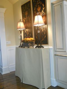 Custom Skirted Table-maybe for her entryway- or perhaps just a shelf attached to wall.