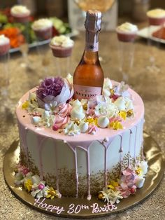 My Champagne and Rosé Birthday — Just Being Britt - Birthday Cake 30th Birthday Cake For Women, 25th Birthday Cakes, 30th Birthday Decorations, 30 Birthday Cake, 30th Birthday Parties, Birthday Woman, Birthday Celebration, 30th Birthday Party Ideas For Women, 30th Cake