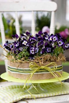 Pansy cake! (pansies wrapped in burlap and ribbon on a plate)