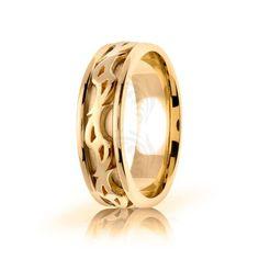 10k Yellow Gold Celtic Double Spiral Wedding Band Polish 7mm 01685