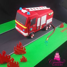 Fire Engine Cake. This cake was a chocolate mud cake which was layered with…