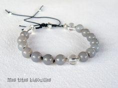 Agate grise et Cristal de Roche Bracelet Homme Réglable