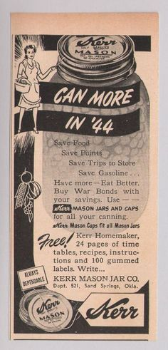 Kerr Mason jars '40s PRINT AD canning vintage advertisement WWII 1944