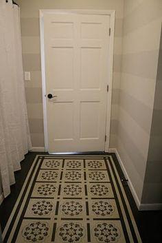 light grey & creme striped hallway