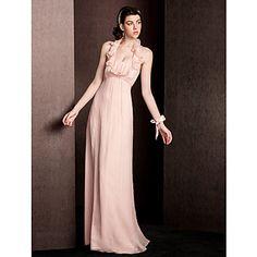 Sheath/Column Halter Floor-length Silk Bridesmaid Dress – USD $ 99.99