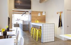 79 Ideas: Inspiring Interior in a Fish Market with fresh yellow details