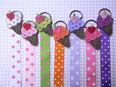 Pink and green would be perfect for Evies room :) Bow Holder with Polka Dot Ribbon and ice cream cone - Hair bow holder- Clip Holder - Clippie Holder on Etsy, $5.00