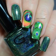 Peacock Inspired Nails. #svetasanders
