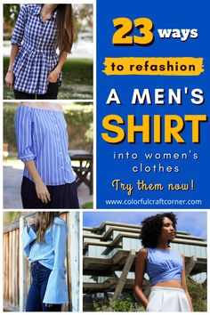 Learn how to refashion a men's button up shirt into women's clothes. Turn one of your husband's shirt into a tunic top, dress, or skirt with these fantastic shirt upcycle tutorials. #shirtrefashion #upcycling #DIYclothes Refashion Dress, Diy Dress, Diy Clothes And Shoes, Women's Clothes, Clothing Hacks, Upcycled Clothing, Shirt Makeover, Old Shirts, Recycled Fashion