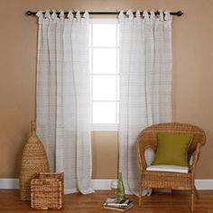 Aurora Home Faux Linen Tie-top 84-inch Curtain Panel Pair