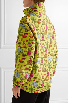 Prada - Hooded Printed Silk-faille Jacket - Yellow - IT38