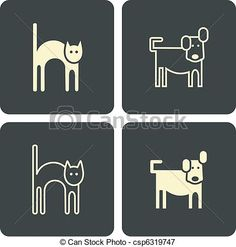 Cat and dog - vector icons, symbols - csp6319747