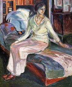 Model on the Couch, 1928 by Edvard Munch, Late works. Expressionism. genre painting. The Munch Museum