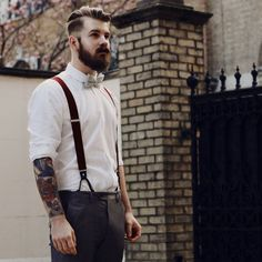 beard and mustache beards bearded man men mens' style suspenders bowtie dapper retro vintage look tattoos tattooed hairstyle hair cut barber Hipster Man, Hipster Groom, Moda Hipster, Style Hipster, Hipster Wedding, Male Hipster Fashion, Hipster Clothing, Fashion Clothes, Fashion Hair
