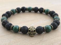 Men's Bracelet, Malachite Bracelet, Lava Bracelet, Skull Bracelet, Boho Bracelet, Yoga Bracelet, Mala Bracelet, Wrist Mala, Energy Bracelet by CrystaliciousDesigns on Etsy