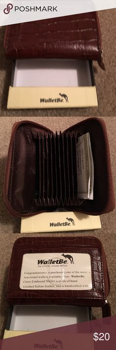 NWT and box WalletBe wallet NWT and box WalletBe brown Italian leather wallet with 9 inside compartments for money, credit cards, etc  Drivers license or ID can be displayed in front and zippered change compartment in back. $20.00 WalletBe Bags Wallets