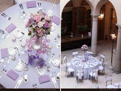 Decoração mesa de convidados - lilás e roxo - arranjo grande, guardanapos lilás - déco mariage violet et lilás - gros bouquet de fleurs - table des invités - serviettes tissue lilás - wedding decoration purple and lilac - guest's table - lilac tissue napkins