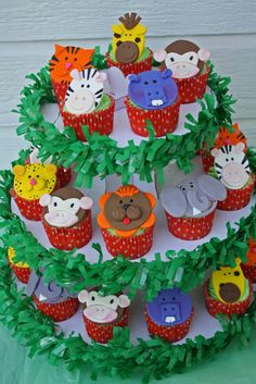 Jungle Animal Cupcake Toppers One Dozen by Clementinescupcakes, $20.00
