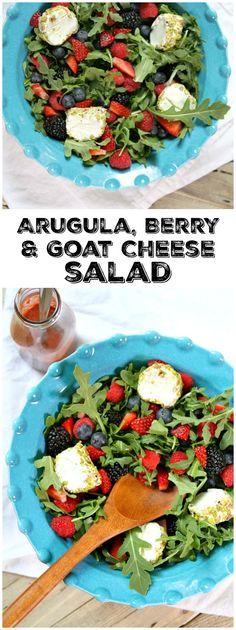 Arugula, Berry and Goat Cheese Salad recipe - from RecipeGirl.com