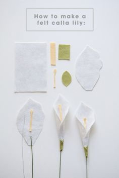 All the petals you'll need to make a felt calla lily!