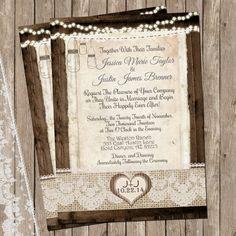 Rustic and Lace Wedding Invitation, Mason Jar, Lights, Wood Fence, Digital File, Printable, 5x7 on Etsy, $15.00