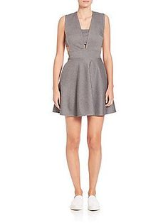 Prose & Poetry Kendra Deep V-Neck Cutout Dress - Charcoal Heather - Si