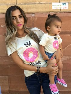 Oh Don't Even Donut Even Mom & Baby Matching Set Outfit Shirts Tee T-S - Donut Shirt - Ideas of Donut Shirt - Oh Don't Even Donut Even Mom & Baby Matching Set Outfit Shirts Tee T-Shirt TShirt Organic Ecofriendly One Piece Bodysuit Layette Donut Birthday Parties, Donut Party, Baby Birthday, Birthday Shirts, Birthday Party Themes, Birthday Ideas, Baby Co, Mom And Baby, Mama Baby