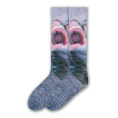 These Shark Socks are a vivid three dimensional winner! This pair of crew socks for men feature a Great White shark! The next step in sock evolution! Shark Socks, Crazy Socks, Great White Shark, Shark Week, T Rex, Color Patterns, Cool Designs, Pairs, Fun