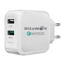 BlitzWolf® QC2.0+2.4A30W Dual USB Best Fast Charger[Qualcomm Certified] EUWhite