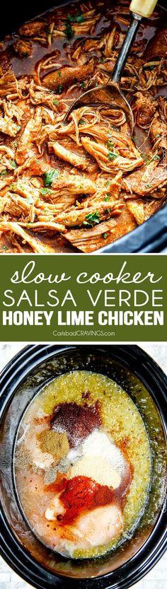 Slow Cooker Salsa Verde Honey Lime Chicken (Tacos)