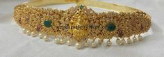 Latest Collection of best Indian Jewellery Designs. India Jewelry, Pearl Jewelry, Gold Jewelry, Indian Jewellery Design, Jewelry Design, Gold Waist Belt, Waist Belts, Vaddanam Designs, Arm Party