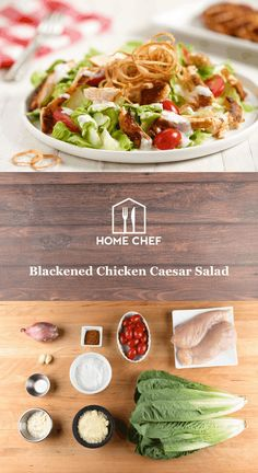 We love the smoky, zesty flavor blackening seasoning adds to this seared chicken breast. The mixture of chili powder, paprika, garlic, and onion turns up the volume, while the tart, tangy Caesar dressing cools things off. With just a couple ingredients, you make your own creamy Caesar dressing to toss with crisp romaine lettuce and fresh grape tomatoes. Topped with crispy shallots, this isn't just a Caesar salad, this is _the_ Caesar salad.