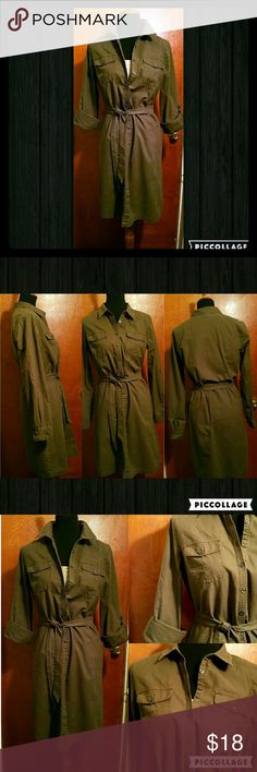 "❣NEW ARRIVAL❣OLIVE GREEN SHIRT DRESS Olive Green Long Sleeve Shirt Dress is ""Gently Loved "" with a little wear from laundering.   However, it's still IN GREAT SHAPE (as pictured)! 😊  Can cinvert Sleeves to 3/4 Sleeves.  Original  belt is included. *SMOKE FREE HOME & PET FREE HOME* Dresses"