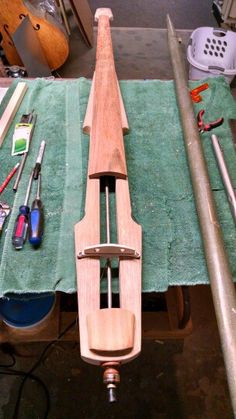 Electric upright bass in the works. Marshall Hammett Steamwright. Steamwright.com