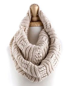 Oatmeal Sweater-Knit Infinity Scarf