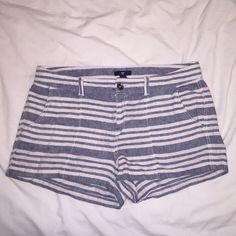 Striped shorts 55%cotton 45% linen blue/beige stripped shorts. Shorts are great length, not too short but not too long. From gap GAP Shorts