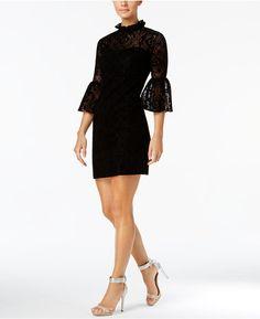c0aaed5457b Calvin Klein Petite Burnout Velvet Lace Bell-Sleeve Dress   Reviews -  Dresses - Women - Macy s
