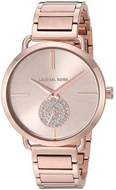 a55d741f652 Michael Kors Women s Portia Rose Gold-Tone Watch MK3640 Relógio Michael  Kors