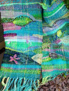Etsy の handwoven saori scarf by fibrefrenziweave