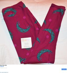 Women Leggings: Lularoe Leggings Tall Curvy Tc Burgundy Turquoise Crescent Moon Unicorn New Nwt BUY IT NOW ONLY: $39.99 #priceabateWomenLeggings OR #priceabate