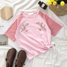 FREE SHIPPING Floral Embroidery Pastel Pink T-shirt